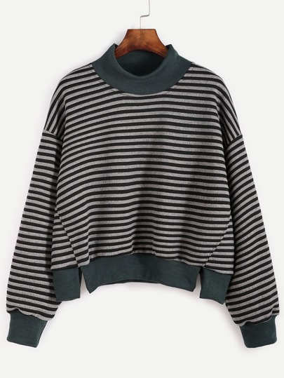 Dark Grey Striped Slit Hem Sweatshirt