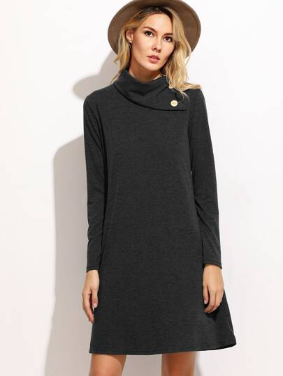 Buttoned Turtleneck Slub Dress