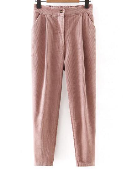 Pantalons en velours côtelé avec bouton - rose