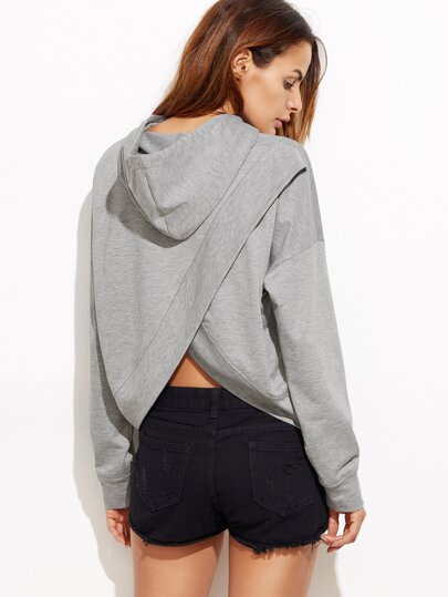 Heather Grey Drop Shoulder Split Back Hoodie