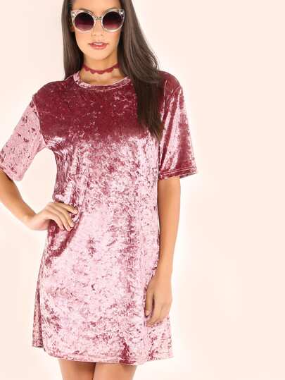 Robe t-shirt en velours - rose
