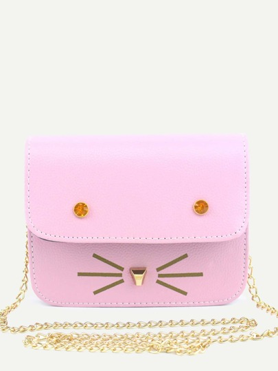 Rose Pink Cat Design PU Flap Chain Bag