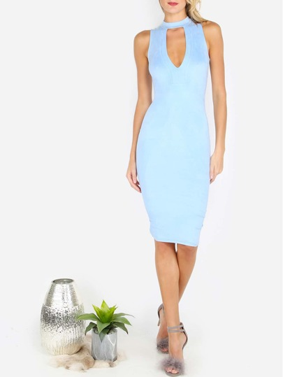 Light Blue High Neck Cut Out Sleeveless Sheath Dress