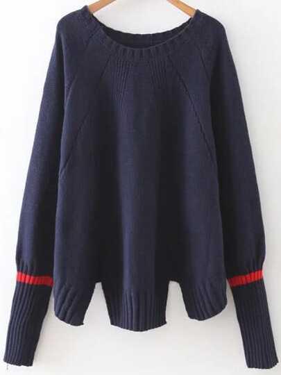 Navy Ribbed Trim Slit Raglan Sleeve Sweater