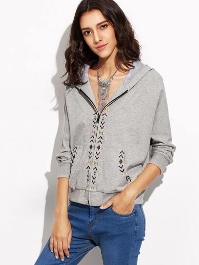 Heather Grey Zip Up Embroidered Hoodie