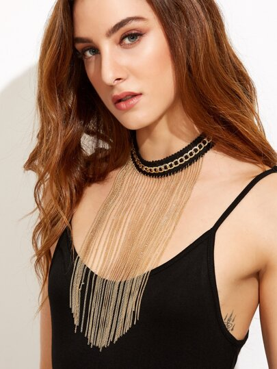 Gold Chain Fringe Choker Necklace