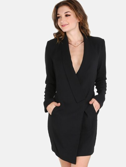Lapel Wrap Blazer Dress BLACK