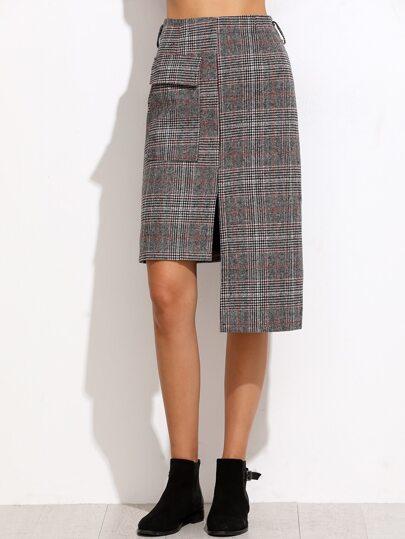 Glen Plaid Slit Front Asymmetric Skirt