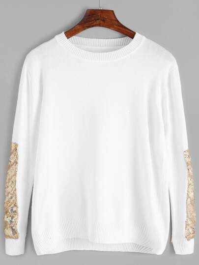 White Contrast Sequined Sweater