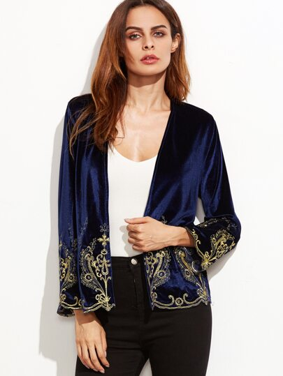 Navy Floral Embroidered Collarless Velvet Blazer