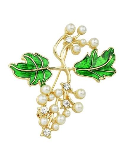 New Coming Imitation Pearl Enamel Branch Shape Brooch