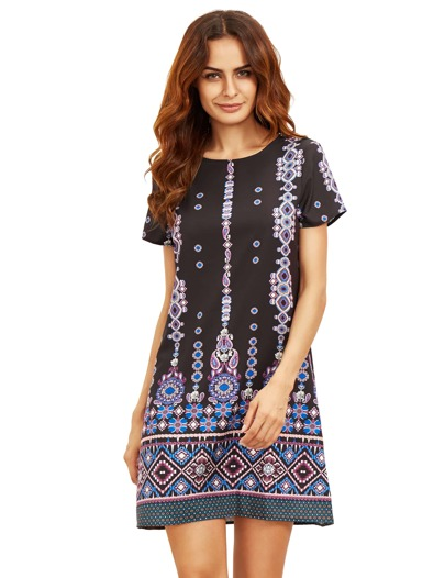 Blue In Black Aztec Print Shift Dress