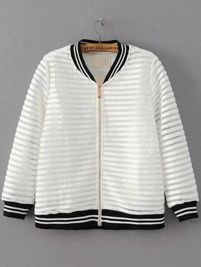 White Striped Trim Hollow Out Zipper Up Jacket