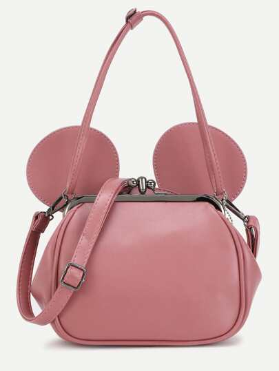 Pink PU Metallic Trim Convertible Shoulder Bag With Ear