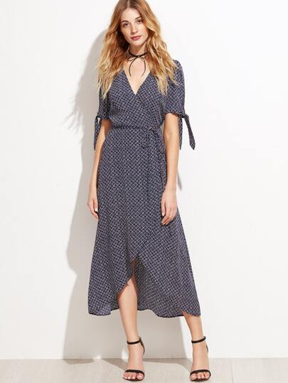 Blue Printed Tie Sleeve Warp Dress