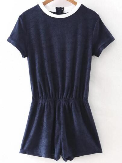 Combi-short col contrasté taille élastique - bleu marine