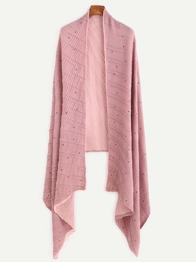 Pink Beaded Ribbed Long Shawl Scarf