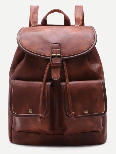 Rucksack mit Reißverschluss Doppelt Taschen-kaffee