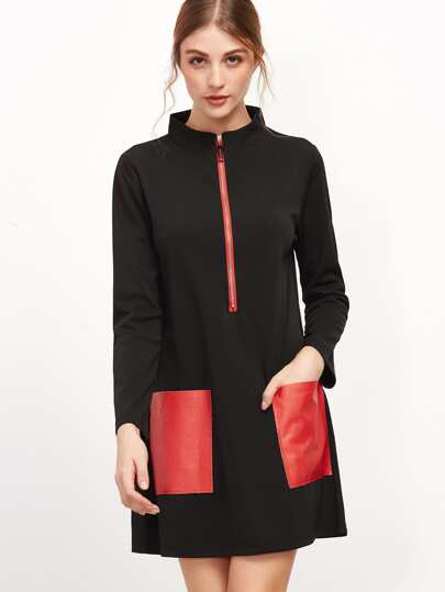 Black Stand Collar Contrast Pockets Zipper Dress