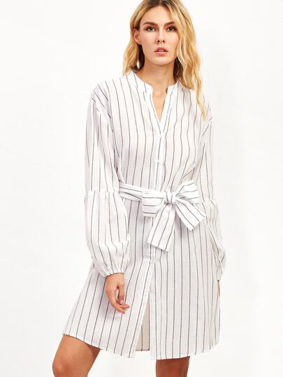 White Vertical Striped Lantern Sleeve Belted Shirt Dress