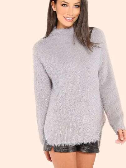 Mock Neck Fuzzy Fur Sweater HEATHER GREY