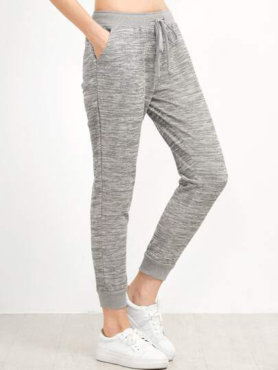 Grey Drawstring Waist Casual Pants