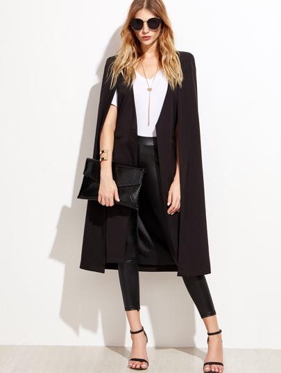Blazer cape longue ouvert - noir