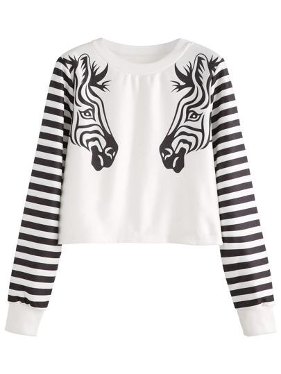 White Striped Zebra Head Print Crop Sweatshirt