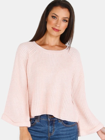 Bell Sleeve Knit Sweater ROSE