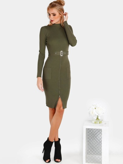 Mock Neck Belted Zip Dress OLIVE