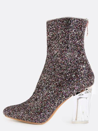 Clear Heel Glitter Boots MULTI
