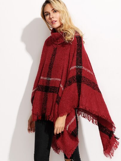 Burgundy Turtleneck Plaid Fringe Smock Sweater