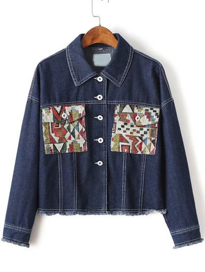 Blue Graphic Pattern Frayed Trim Denim Jacket