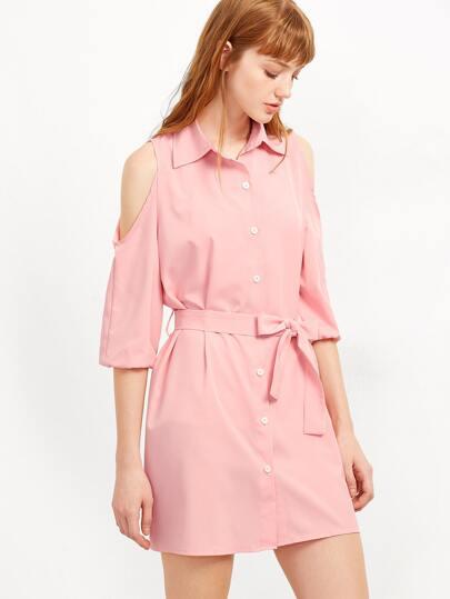 Pink Open Shoulder Self Tie Shirt Dress