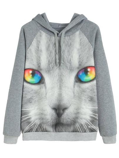 Contrast Trim Cat Print Hooded Sweatshirt
