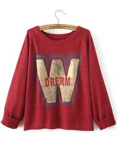 Red Letter Print Raglan Sleeve Sweater