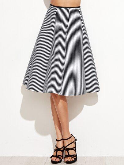 Vertical Striped Zipper Back A-Line Skirt