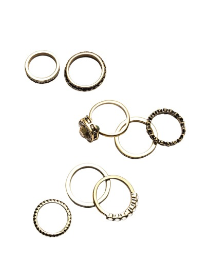 8PCS Antique Gold Rhinestone Ring Set