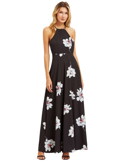 Black Floral Print Halter Neck Maxi Dress