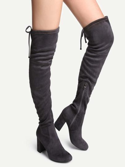 Botas por encima de rodilla en punta con cordón - gris