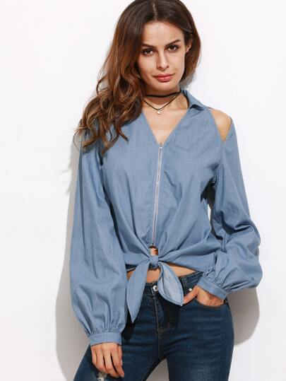 Blue Cutout Zip Up Knot Front Chambray Blouse