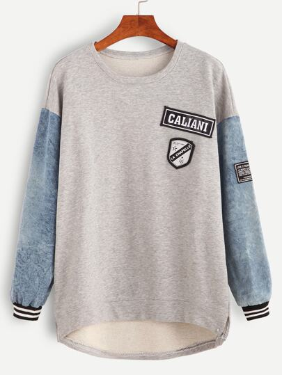 Contrast Sleeve Patches Dip Hem Sweatshirt