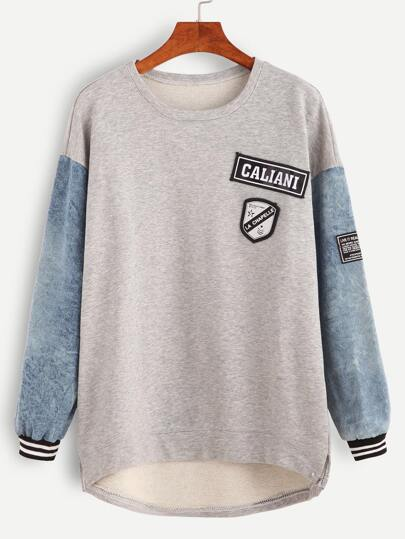 Contrast Sleeve Patches Dip Hem Sweatshirt