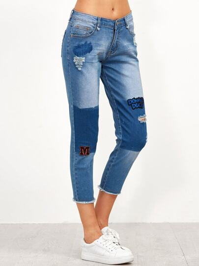 Blue Ripped Frayed Crop Jeans With Embroidered Patch