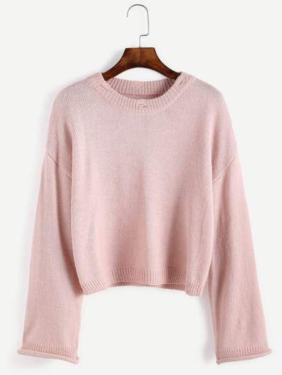 Pink Ripped Collar Drop Shoulder Sweater