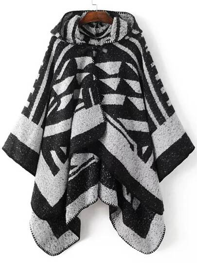 Black Graphic Pattern Hooded Cape Sweater