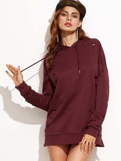 Ripped Drop Shoulder Hooded Sweatshirt