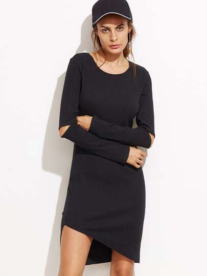 Black Cutout Elbow Asymmetric Dress