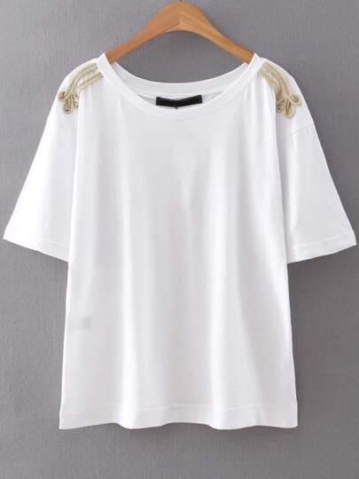 White Rope Embellished Shoulder T-Shirt