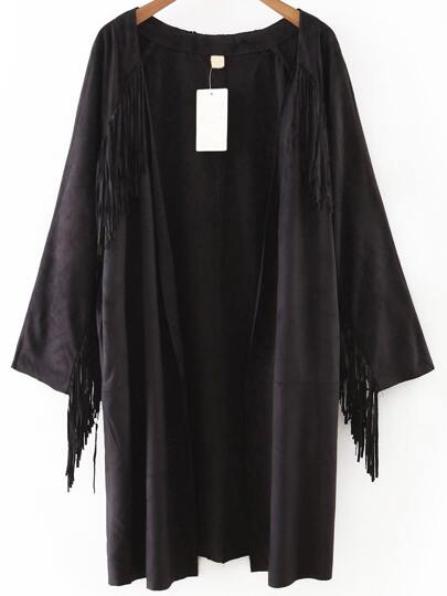 Black Open Front Fringe Detail Suede Coat